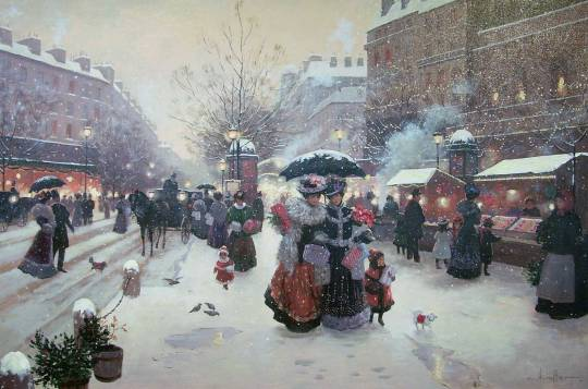 Christa-Kieffer-Wallpaper-Winter-Pleasures-painting-winter-Paris-France-Christmas