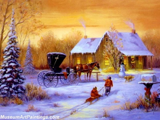 Christmas-Painting-Sleding-Home-to-Snowman-9484-55159