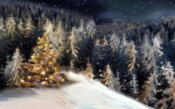 Christmas-Tree-Painting-Desktop-Wallpaper