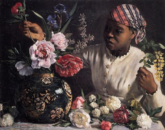 Frederic Bazille - African woman with Peonies