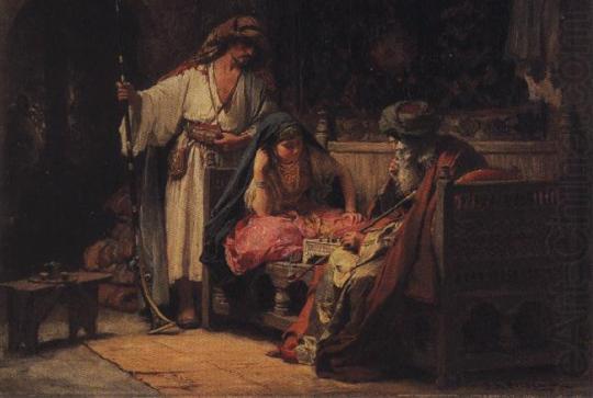 Frederick Arthur Bridgman-A challenging moment