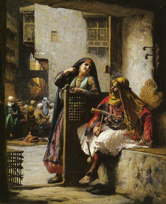 Frederick-Arthur-Bridgman - Almeh Flirting with Armenian Policeman, Cairo