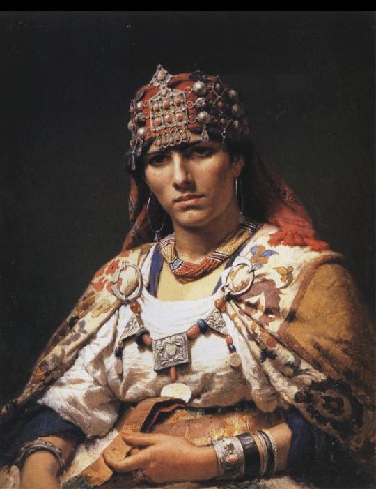 Frederick Arthur Bridgman- Portret of a Kabylie Woman - Algeria