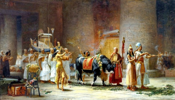 Frederick Arthur Bridgman THE PROCESSION OF THE BULL APIS 1879 , oil on canvas  101.6 by 177.8 cm