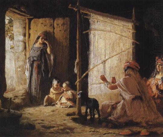 Frederick Arthur Bridgman-Women in Biskra Weaving a Burnoos