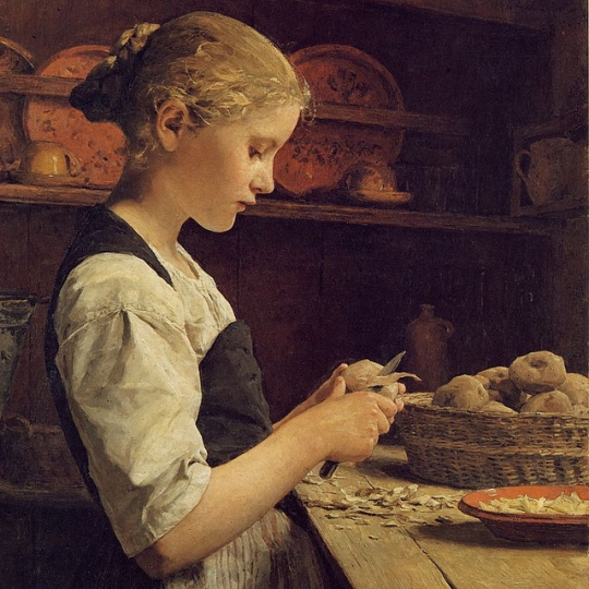 Girl peeling potatoes