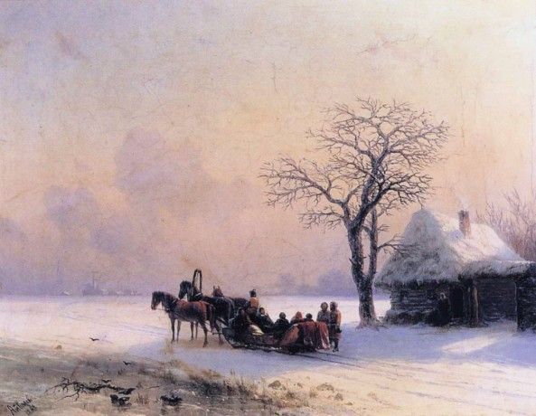 Ivan-Constantinovich-Aivazovsky-xx-Winter-Scene-in-Little-Russia-xx-Unspecified