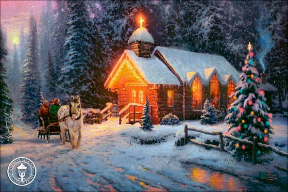 kinkade-2009-christmas-chapel-one-art-thomas-gallery-holiday-painting