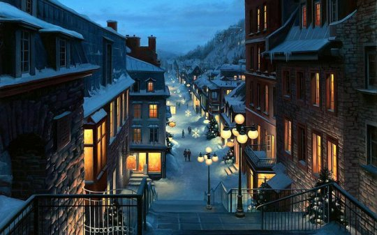 old-quebec-eugeny-lushpin-painting-christmas-christmas-trees-snowflakes-evening-lights_p