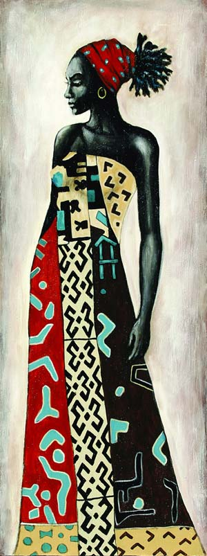 PAINTING-AFRICAN-LADY-BLUE-L45-W120-0.020CBM