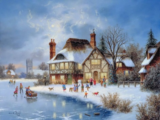 Painting-Snowy-Winter-Town-Wallpapers
