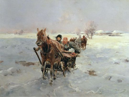 sleighs-in-a-winter-landscape-painting-by-janina-konarsky