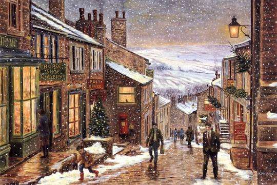 Snow scene in town