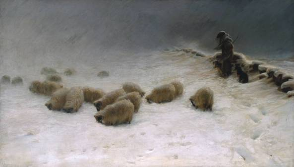 The Joyless Winter Day exhibited 1883 by Joseph Farquharson 1847-1935