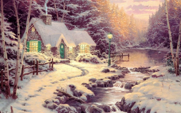 Thomas Kinkade - winter house
