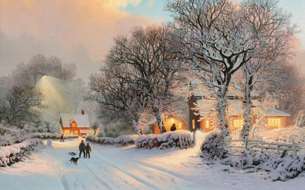 Village-In-Winter-Painting