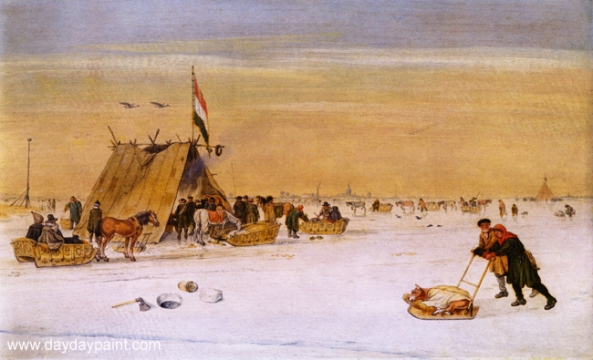 Winter-Landscape-Painting-by-Hendrick-Avercamp