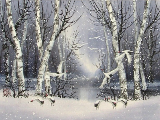 winter-snow-chinese-landscape-painting-cranes