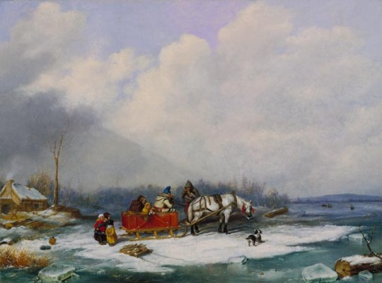 'Winter_Landscape',_oil_on_canvas_painting_by_Cornelius_Krieghoff,_1849,_National_Gallery_of_Canada