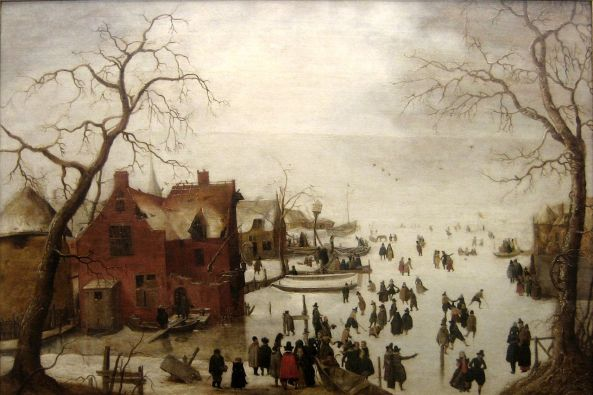'Winter_Scene'_oil_on_panel_painting_by_Hendrick_Avercamp,_c._1620,_Museu_de_Évora,_Portugal
