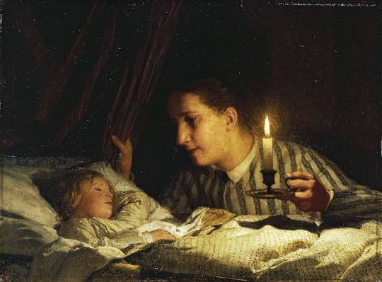 young-mother-contemplating-her-sleeping-child-in-candlelight-1875
