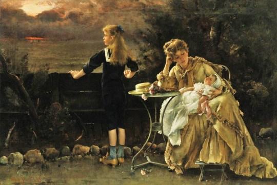 Alfred Stevens (Belgium painter, 1828-1906)  Mere et Ses Enfants 1883 3