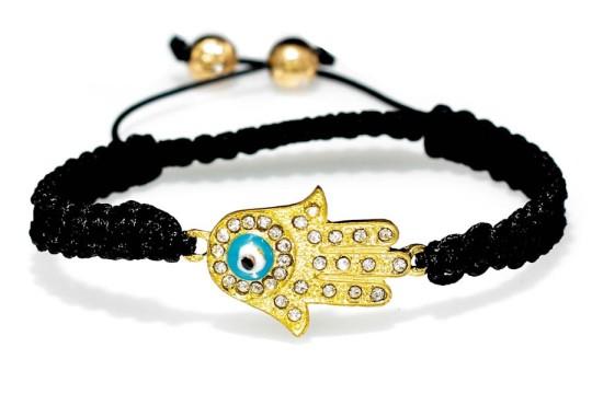 Evil Eye Golden Fatima Hand Macrame Bracelet