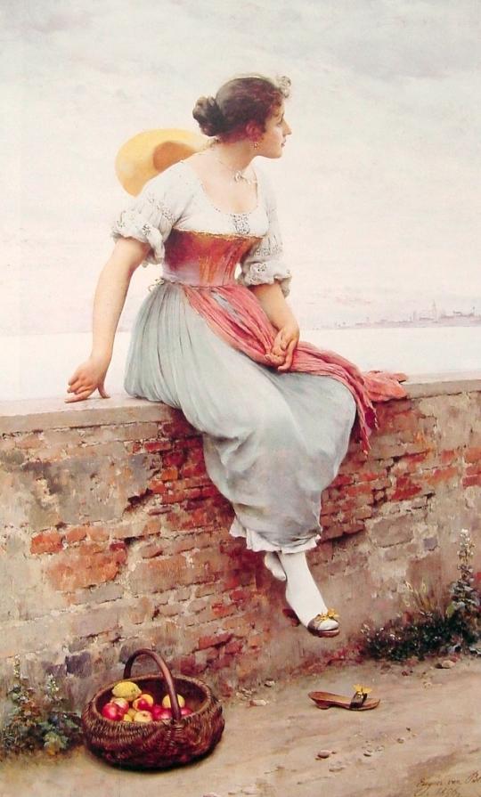 1896.Eugene de Blaas.A Pensive Moment