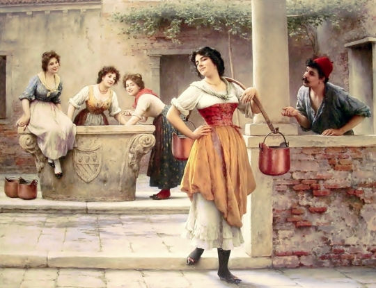 1902.Eugene de Blaas Flirtation at the Well