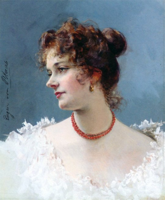 Eugene de Blaas (1843-1931)  - Portret of a Lady