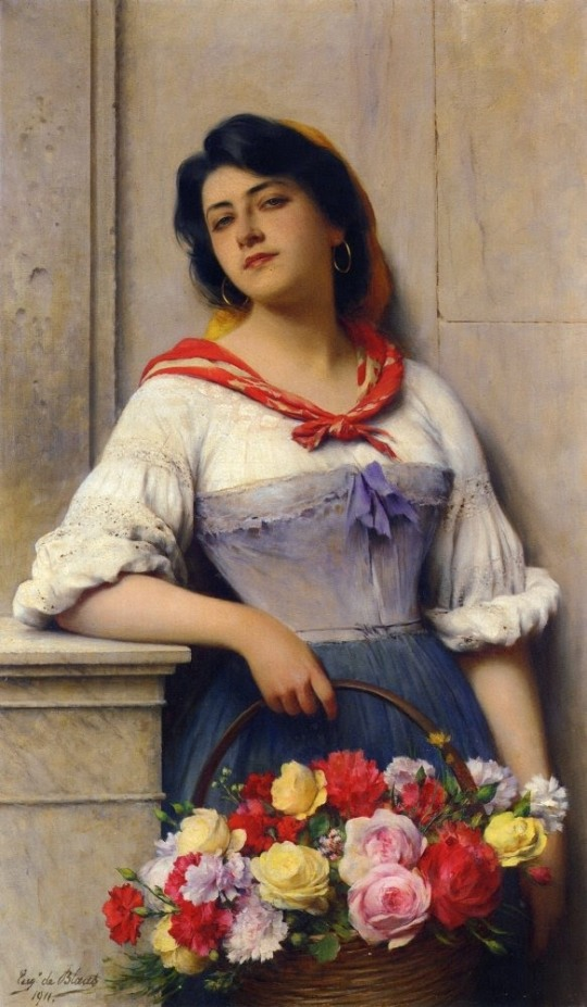 Eugene de Blaas. (Austrian Academic painter, 1843-1931) Flower Seller