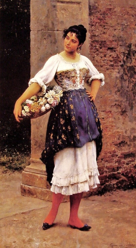 Eugene de Blaas. (Austrian Academic painter, 1843-1931) Venetian Flower Seller 1895