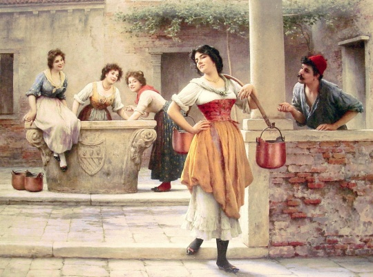 Eugene de Blaas - Flirtation at the Well