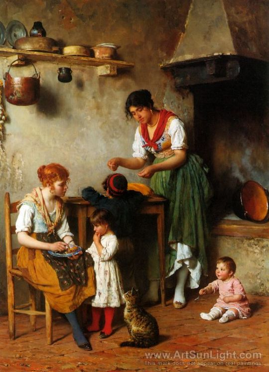 Eugene de Blaas -mother-s-little-helper