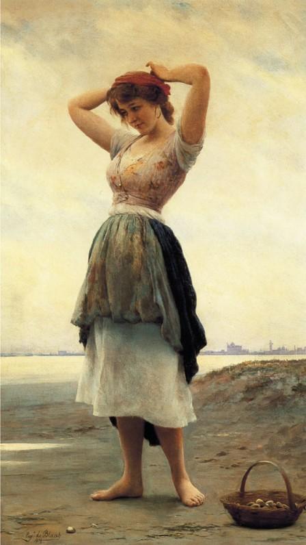 Eugene de Blaas, - Sur la plage