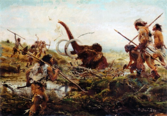 Zdenek Burian Mammoth hunt in the swamp