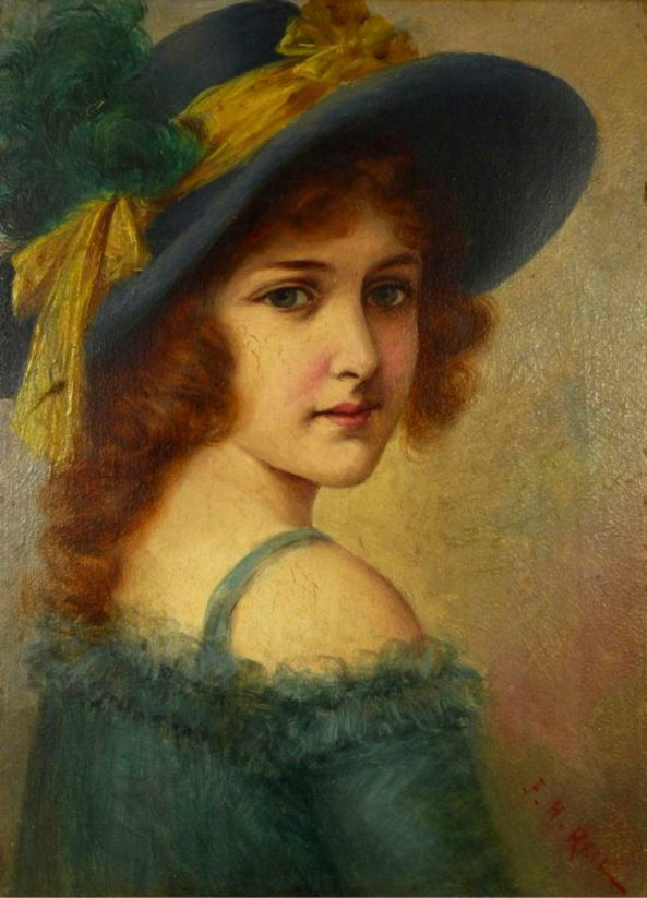19th CENTURY OIL ON BOARD OF YOUNG GIRL SIGNED
