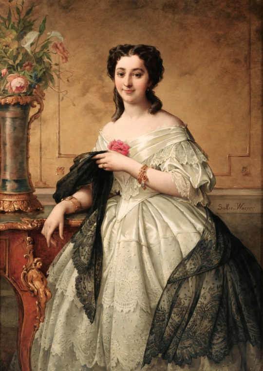 Adelaide Salles-Wagner (1825-1890) - Young Woman with lace shawl
