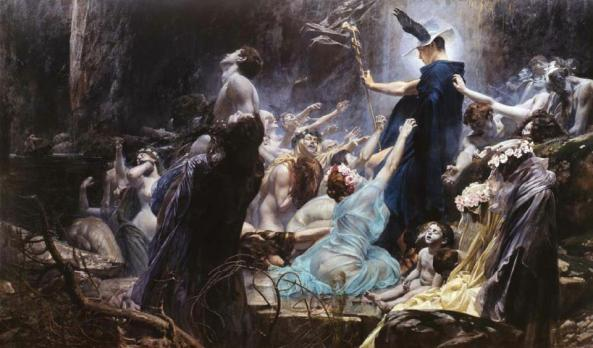 Adolf Hiremy-Hirschl - Souls on the Banks of the Acheron, 1898
