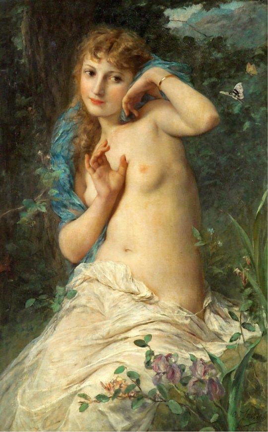 Adolphe Jourdan (French, 1825-1889) - La papillon