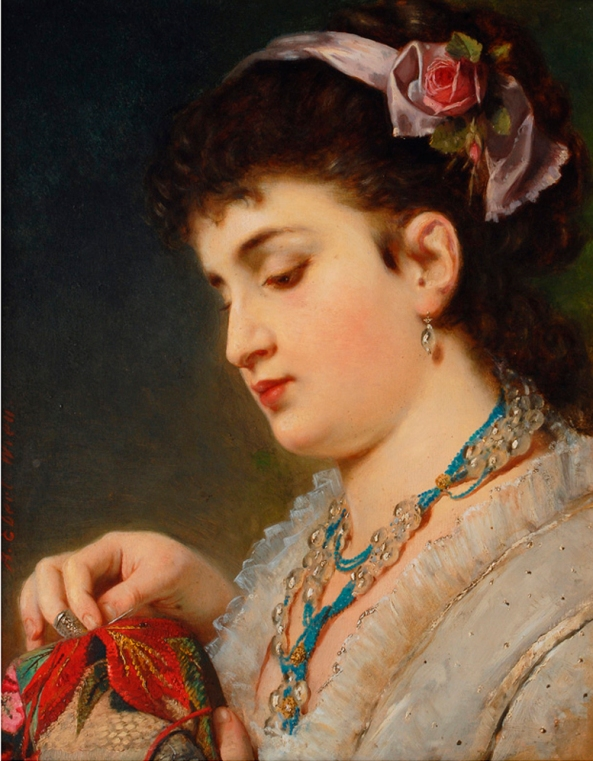 Anton Ebert-Young Lady doing needlework