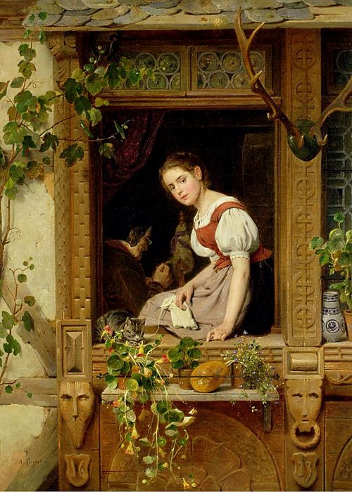 August Friedrich Siegert - Dreaming on the Windowsill