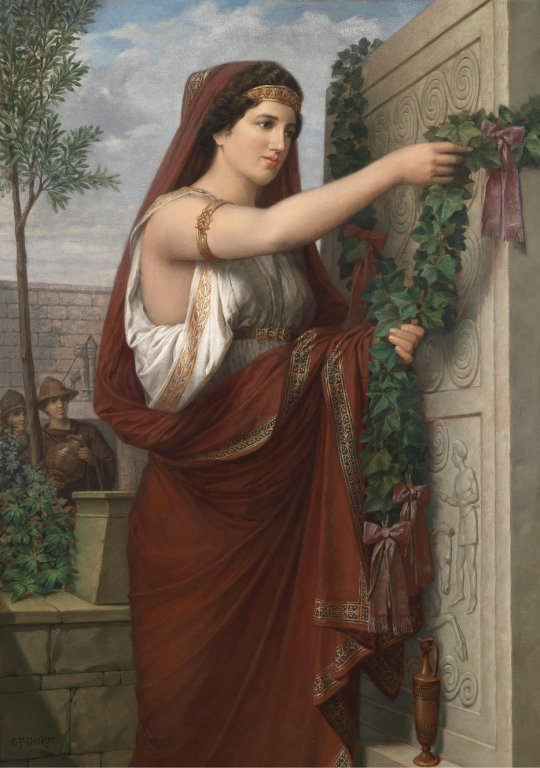 Carl Friedrich Deckler(1838-1918) Vestal Virgin with Wreath of Ivy