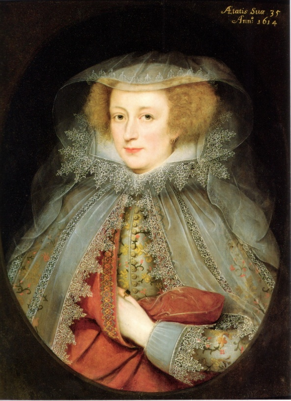 Catherine Killigrew, Lady Jermyn, oil on panel  Date 1614