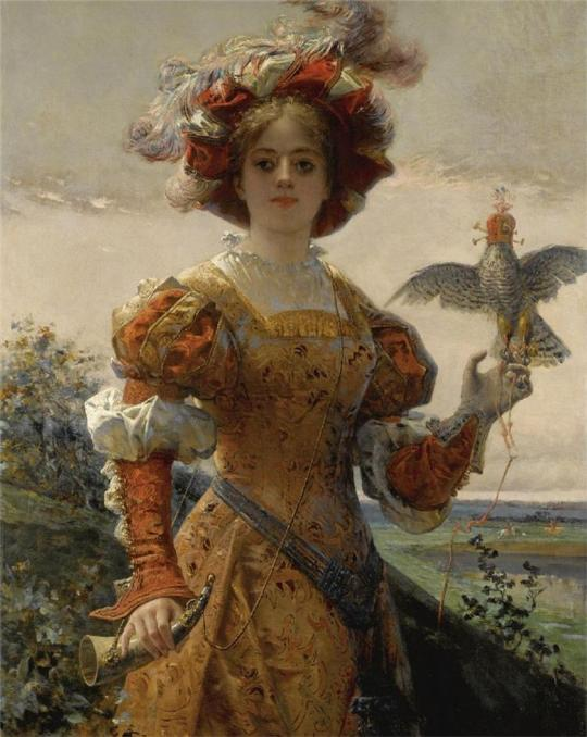 Edmond-Louis Dupain(1847 – 1933) - The Lady Hawk