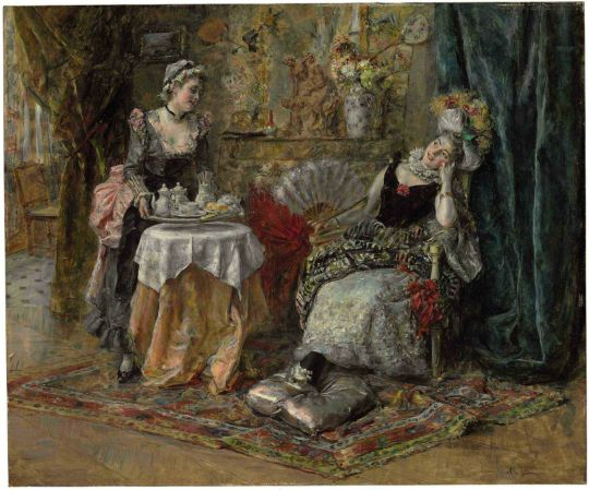 Eduardo Leon Garrido (Spanish 1856-1949) Tea Time. Oil on panel . 45.7 x 54.6 cm