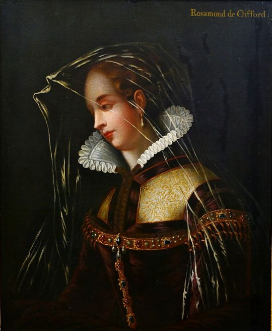 English school, 18th century A portrait of a lady in medieval dress
