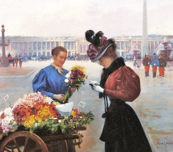 Fernand de Launay. (French artist, 1877- 1904 ) The Flower Seller (2)
