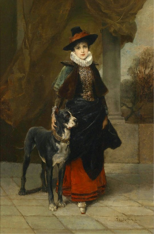 Friedrich August Kaulbach (1850-1920) Portrait of a Lady in Historical Costume with Great Dane