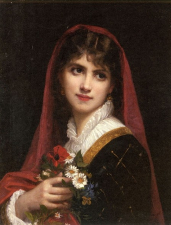 Gustave Doyen(1861-1897)- A Young Beauty Wearing_a_red_veil